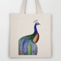 Watercolor Peacock  Tote Bag by Trinity Bennett