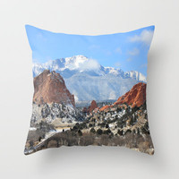 Snow at the Garden of the Gods, Colorado Springs Throw Pillow by Trinity Bennett
