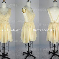 Straps V-neck Sexy Chiffon Light Yellow Party Dresses Cocktail Dress Prom Dress
