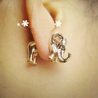 Cute 3D Elephant Single Ear Stud