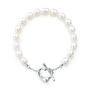 Tiffany & Co. -  Elsa Peretti® Open Heart pearl bracelet in sterling silver.