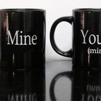$15.42 Coffee Mugs Mine & Yours (mine) by sketchandetch on Etsy
