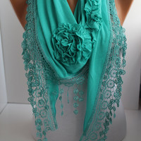 NEW- Mothers Day Gift Turquoise- Mint Rose Shawl/ Scarf - Headband  with Lace Edge -