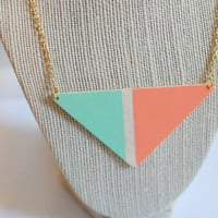 geometric coral and mint color block triangle by theswanlake