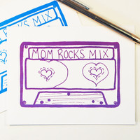 Mom Rocks Mix card mother's day mix tape cassette music birthday notecard retro hipster