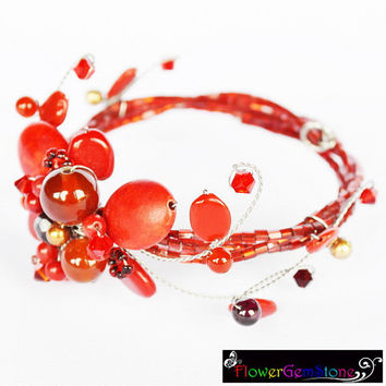 Red Jasper and Carnelian Gem Stone with Swarovski Crystal Bead Bracelet Summer Set Handmade by Flower GemStone