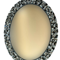 Oval Mosaic Mirror, Black and White Home Decor