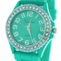 Aqua Ceramic Style Silicone Gel Band Crystal Women's Watch: Watches: Amazon.com