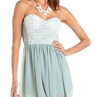 Crochet Bust Chiffon Skater Dress: Charlotte Russe