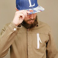 Letterman denim snapback hat, Civil Clothing with contrast print brim | shopcuffs.com