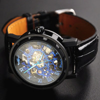 Man Watch Steampunk Mechanical Black Leather Watches