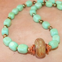 Lampwork Boro Bead Aqua Turquoise Pearl Copper Necklace Handmade OOAK | ShadowDogDesigns - Jewelry on ArtFire