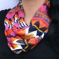 Chevron Circle Scarf. Multicolor Infinity Scarf. Loop Scarf.  Women Accessories