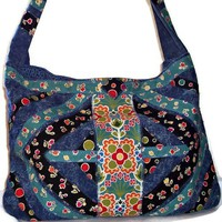 Stonewashed Denim Tote Bag Large Weekender Floral Print Appliqued