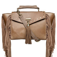 Tan tassel leather tote