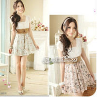 Women's Korean Summer Sweet Clothing Retro Cut Leisure Floral Chiffon Dress