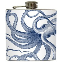 "Liquid Courage Flasks: ""Octopoda"" - Navy Octopus on White Flask"
