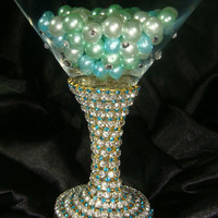 NEW-Custom Designed Handmade Martini Glass With Rhinestones