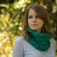 Chunky Cowl, Dark Mint Neck Warmer, Puff Stitch Crochet Cowl, Women&#x27;s Green Accessories