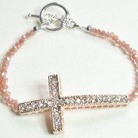 Sideways Cross Rose Gold Crystal Bracelet