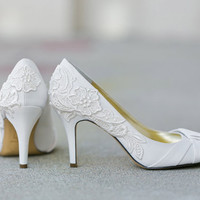 Wedding Shoes - Ivory Bridal Shoes, Ivory Wedding Heels with Ivory Lace. US Size 9