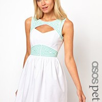 ASOS PETITE Exclusive Skater Dress With Cut Out Back And Contrast Trim at asos.com