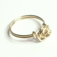 Love Knot Rose Ring Merlin's Gold Wire Wrapped Ring