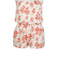 Lace Inset Floral Romper