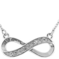 Ladies Silver Half Iced Out Infinity Pendant with an 18 Inch Adjustable Cable Necklace Chain: Jewelry
