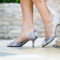 Wedding Heels - Grey/Silver Wedding Shoes, Bridal Shoes with Ivory Lace. US Size 8.5