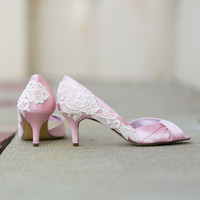 Wedding Shoes - Light Pink Wedding Shoes, Pink Satin Heels with Ivory Lace. US Size 10