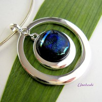 Deep Blue Cosmos Silver Plated Double Ring Dichroic Glass Pendant