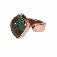 Green Turquoise and Copper adjustable ring, simple and easy, handcrafted artisan jewelry