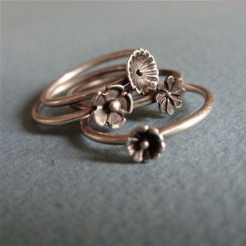 Wildflowers 4 Ring Stacking Set in Sterling Silver by brightsmith