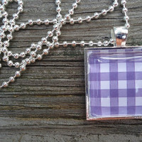 Purple and White Checkered Glass Tile Pendant, Square