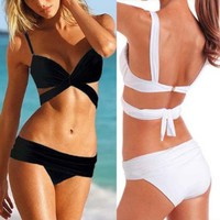 Zicac 2013 Hot New 2 PCS Women Sexy Bikini Triangle Trikini Push up Swimwear Padded Bandeau Swimsuit Beachwear Bathing Suit