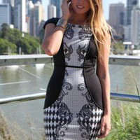 Black Sleeveless Bodycon MIni Dress with Contrast Print