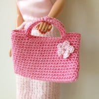 Pink Crochet Barbie Doll Purse
