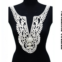 Crochet Knitted Floral Bridal Necklace Applique Collar with Cabochons for  Shirt Blouse Dress