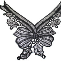 Bow Tie Lace Applique Necklace Sewing Crochet Collar in Black - For Crafts Embellishments