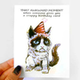Funny Birthday Card, Grumpy Cat Card, Crappy Birthday, Blank Greeting Card, Adult Humor