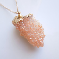 Peach Spirit Quartz Necklace, Statement Jewelry, One Of A Kind