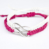 Infinity Friendship Bracelets Fuchsia and White