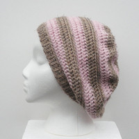 Powder Pink and Mocha Striped Crochet Slouch Hat, ready to ship.
