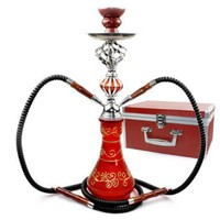 "NeverXhale 17"" 2 Hose Hookah Complete Set w/ Optional Travel Case - Pick Your Color (Summer Red w/ Case)"