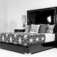 www.roomservicestore.com - Palm Beach bed in Black Faux Patent Leather