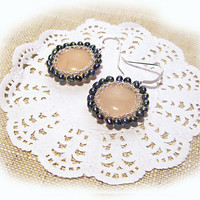 Peacock pearl and rose quartz earrings Rose quartz&amp;pearls bridal earrings Weddings Jewelry