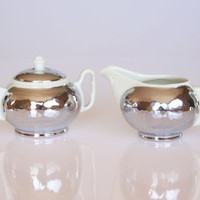 Stunning 1930s Art Deco German Fuerstenberg creamer and sugar set, porcelain and silver plated home decor