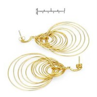 Modnique.com -  Sales Events - Ladies Earrings Designed In Yellow Gold Plated Silver
