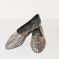Vintage 1980s Silver Sequin Flat Shoes Ballerina Flats Womens Size 7 M Silver Flats Slip on Shoes